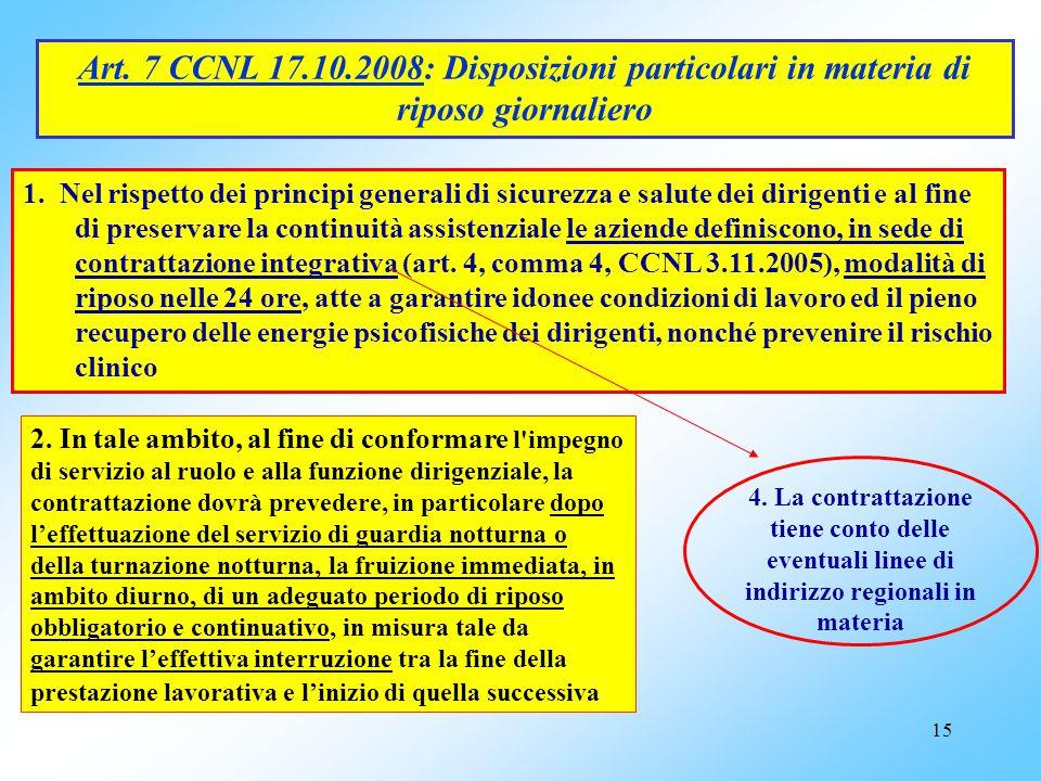 Art. 7 CCNL 17.10.2008: Disposizioni particolari in materia di riposo giornaliero