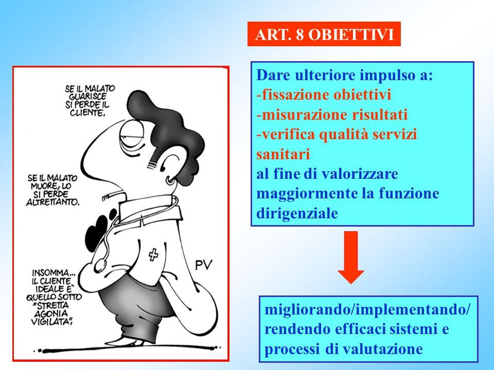ART. 8 OBIETTIVI Dare ulteriore impulso a: fissazione obiettivi. misurazione risultati. verifica qualità servizi sanitari.