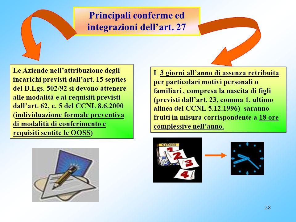 Principali conferme ed integrazioni dell'art. 27
