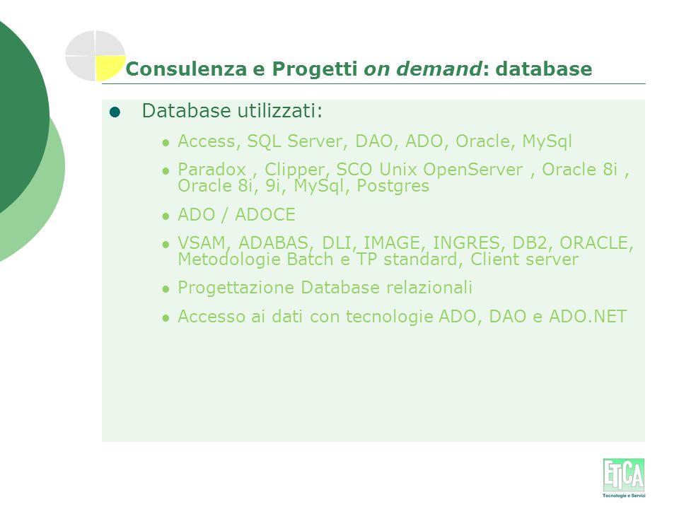 Consulenza e Progetti on demand: database