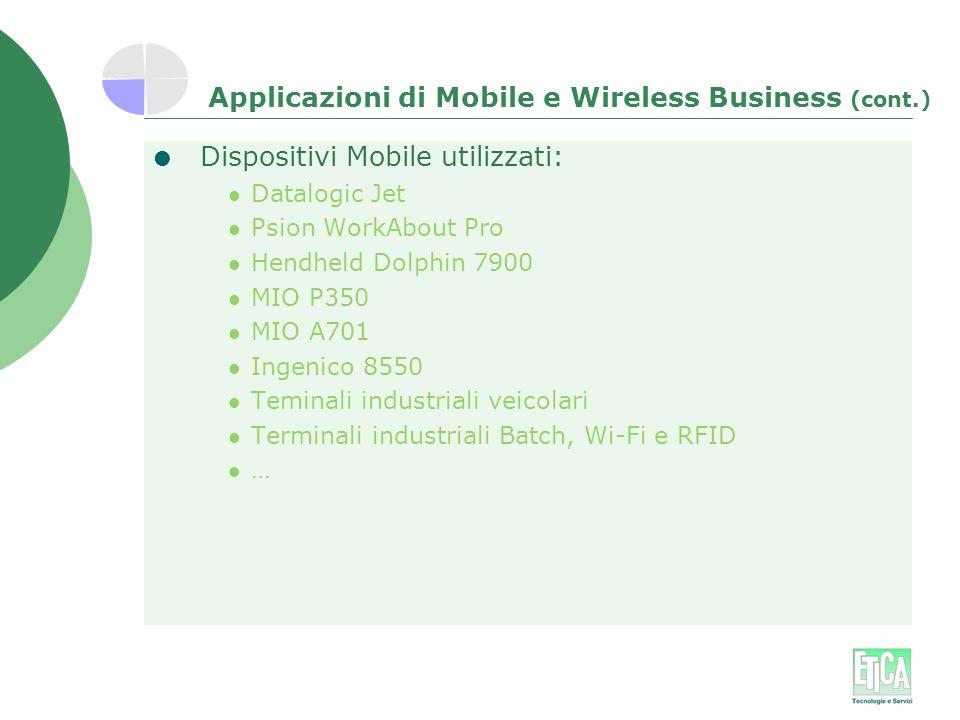 Applicazioni di Mobile e Wireless Business (cont.)