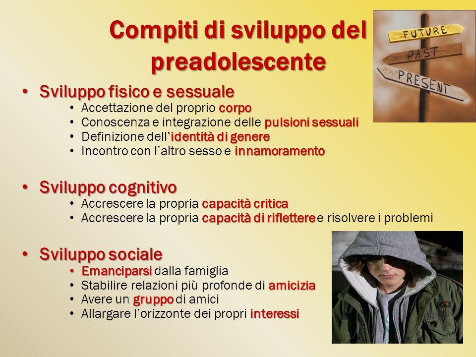 Compiti di sviluppo del preadolescente
