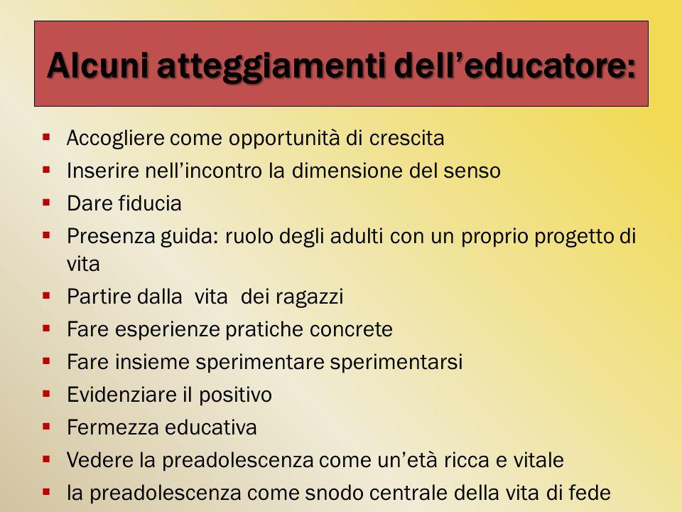 Alcuni atteggiamenti dell'educatore: