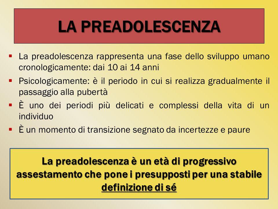 LA PREADOLESCENZA La preadolescenza rappresenta una fase dello sviluppo umano cronologicamente: dai 10 ai 14 anni.