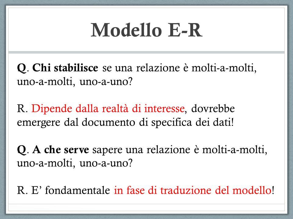 Modello E-R Q. Chi stabilisce se una relazione è molti-a-molti, uno-a-molti, uno-a-uno