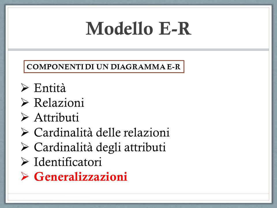 Modello E-R Entità Relazioni Attributi Cardinalità delle relazioni