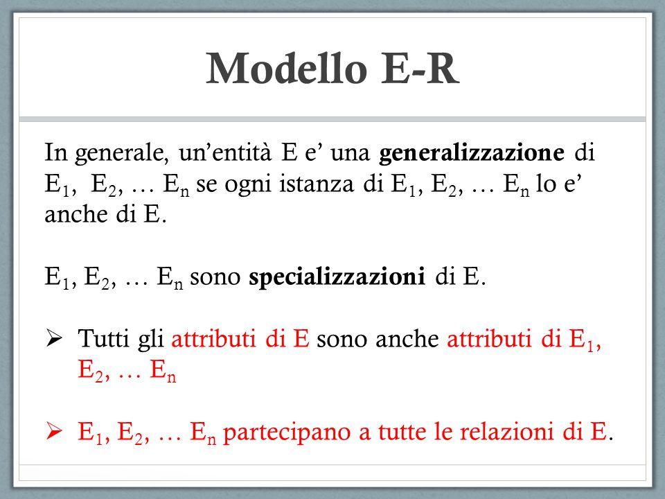 Modello E-R In generale, un'entità E e' una generalizzazione di E1, E2, … En se ogni istanza di E1, E2, … En lo e' anche di E.