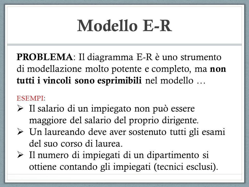 Modello E-R PROBLEMA: Il diagramma E-R è uno strumento