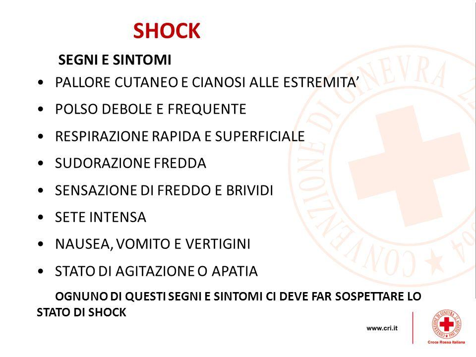 SHOCK SEGNI E SINTOMI PALLORE CUTANEO E CIANOSI ALLE ESTREMITA'