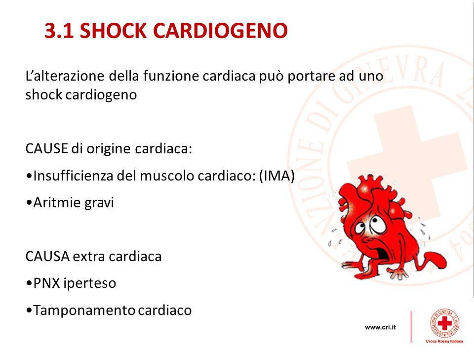 3.1 SHOCK CARDIOGENO L'alterazione della funzione cardiaca può portare ad uno shock cardiogeno. CAUSE di origine cardiaca: