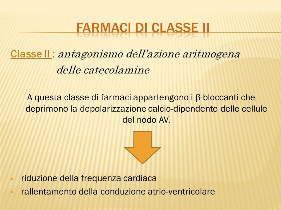 FARMACI DI CLASSE ii Classe II : antagonismo dell'azione aritmogena