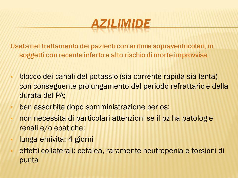 AZILIMIDE Usata nel trattamento dei pazienti con aritmie sopraventricolari, in soggetti con recente infarto e alto rischio di morte improvvisa.