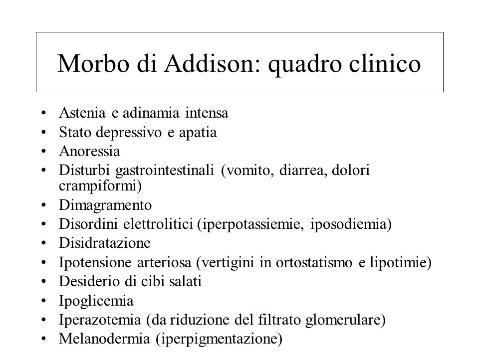 Morbo di Addison: quadro clinico