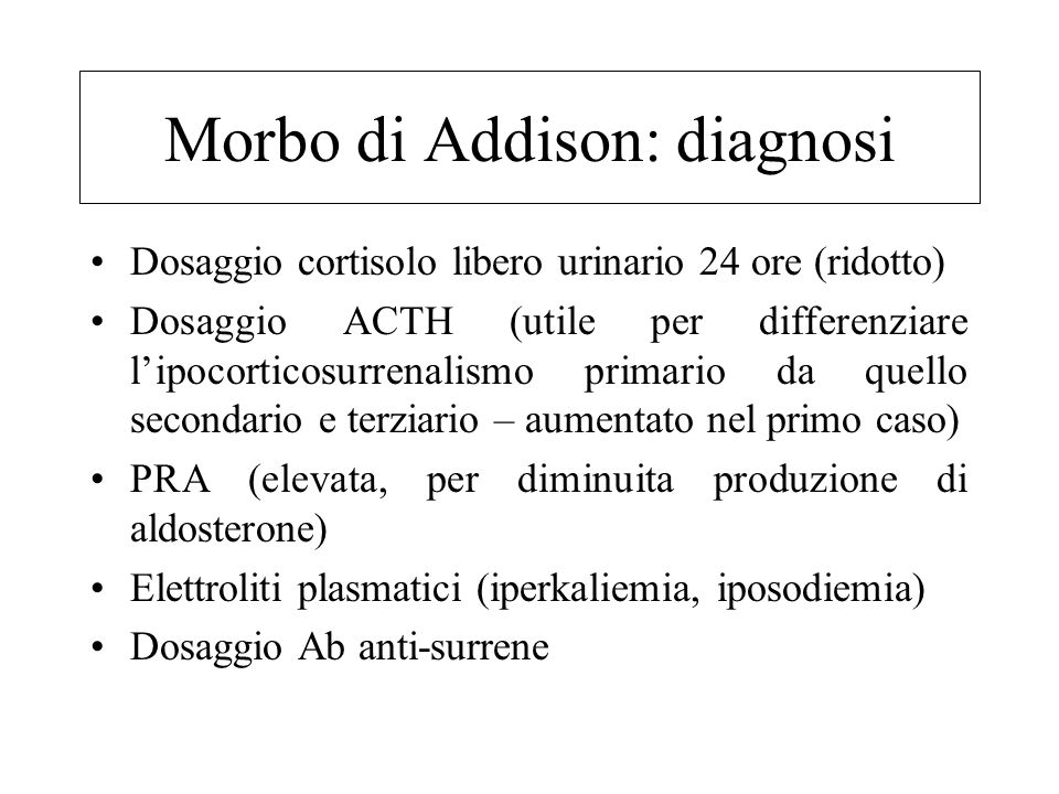Morbo di Addison: diagnosi