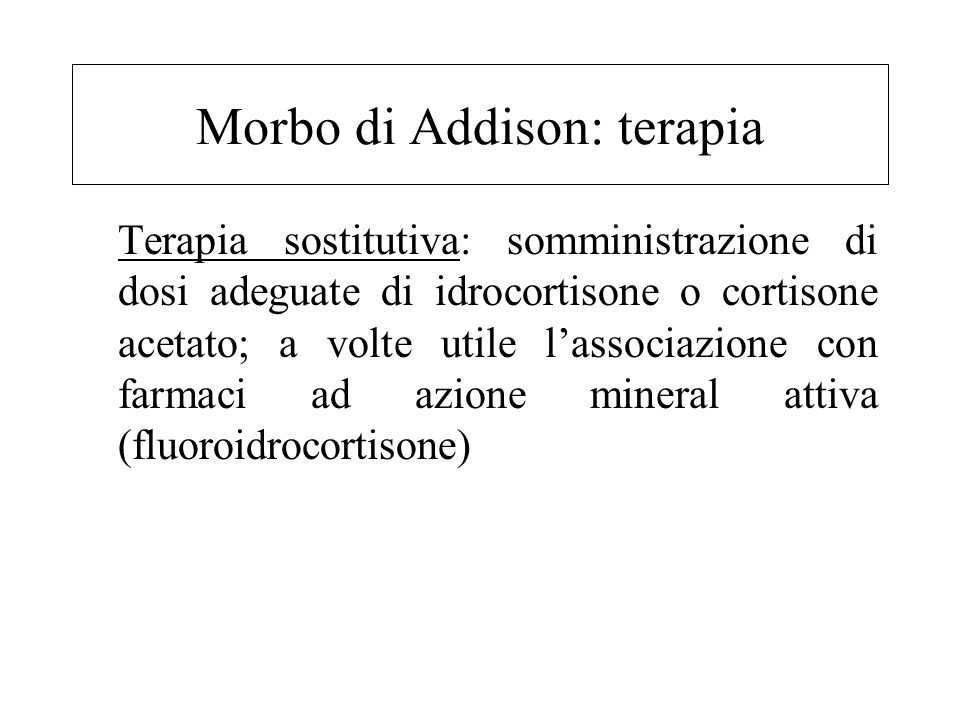 Morbo di Addison: terapia