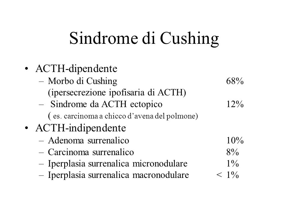 Sindrome di Cushing ACTH-dipendente ACTH-indipendente