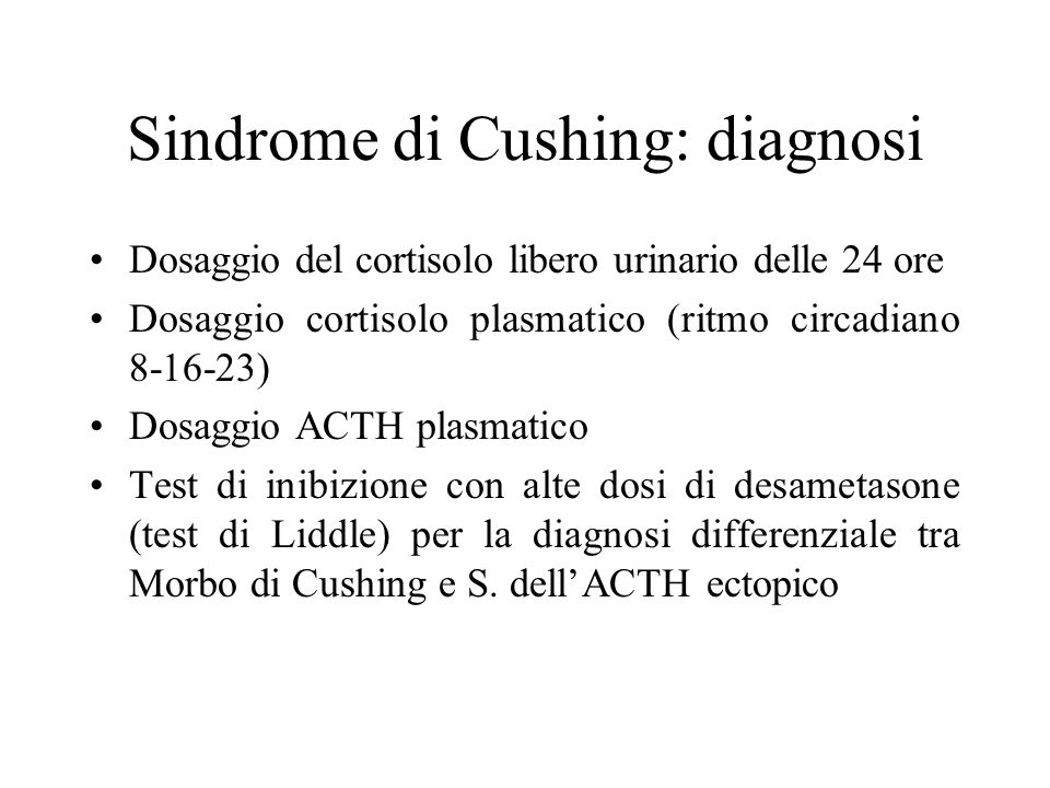 Sindrome di Cushing: diagnosi
