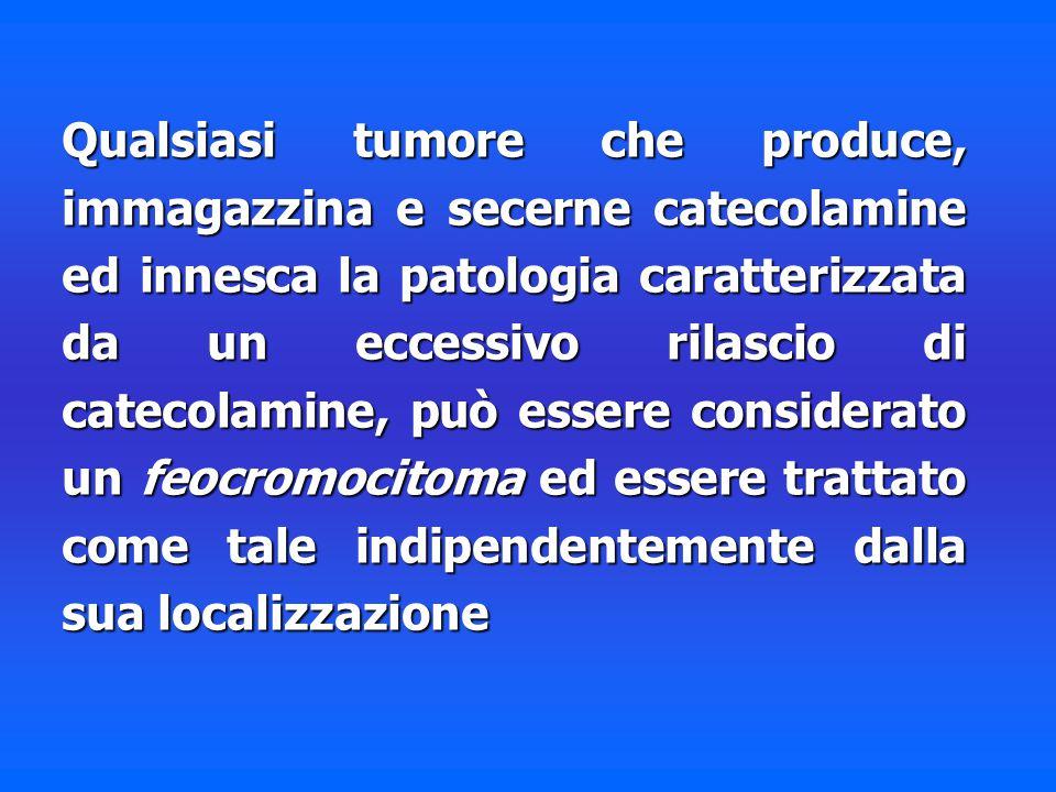Qualsiasi tumore che produce, immagazzina e secerne catecolamine ed innesca la patologia caratterizzata da un eccessivo rilascio di catecolamine, può essere considerato un feocromocitoma ed essere trattato come tale indipendentemente dalla sua localizzazione