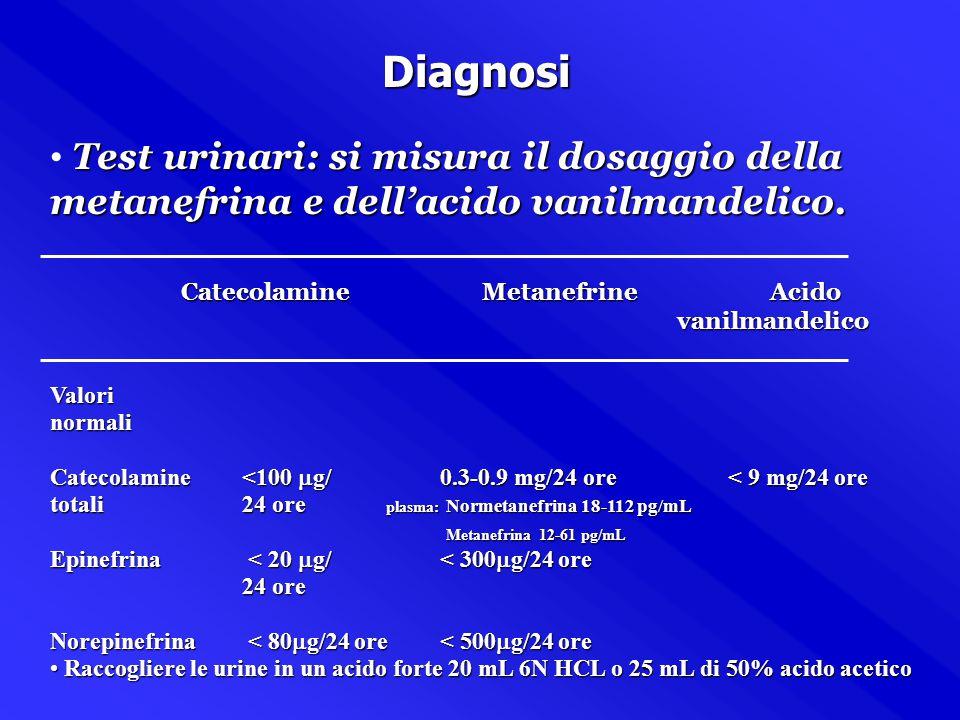 Diagnosi Test urinari: si misura il dosaggio della metanefrina e dell'acido vanilmandelico. Catecolamine Metanefrine Acido.