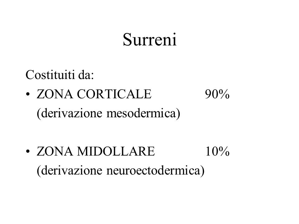 Surreni Costituiti da: ZONA CORTICALE 90% (derivazione mesodermica)