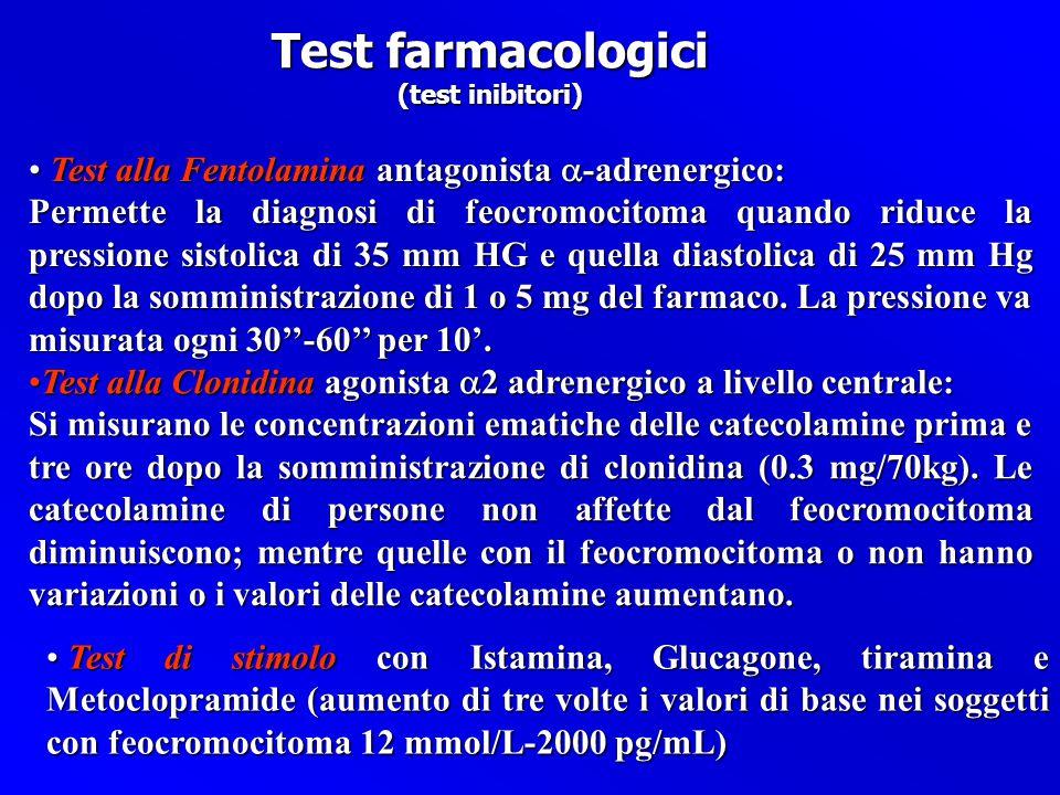 Test farmacologici Test alla Fentolamina antagonista a-adrenergico: