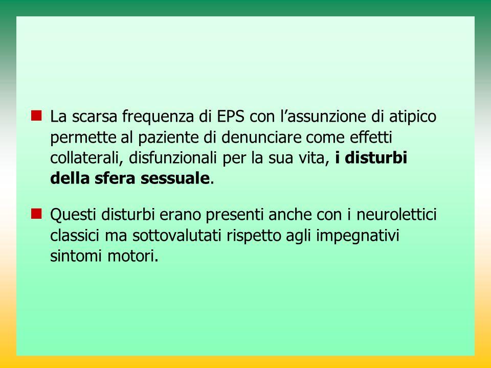 La scarsa frequenza di EPS con l'assunzione di atipico permette al paziente di denunciare come effetti collaterali, disfunzionali per la sua vita, i disturbi della sfera sessuale.