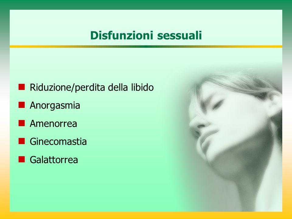 Disfunzioni sessuali Riduzione/perdita della libido Anorgasmia