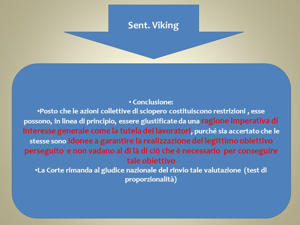 Sent. Viking Conclusione: