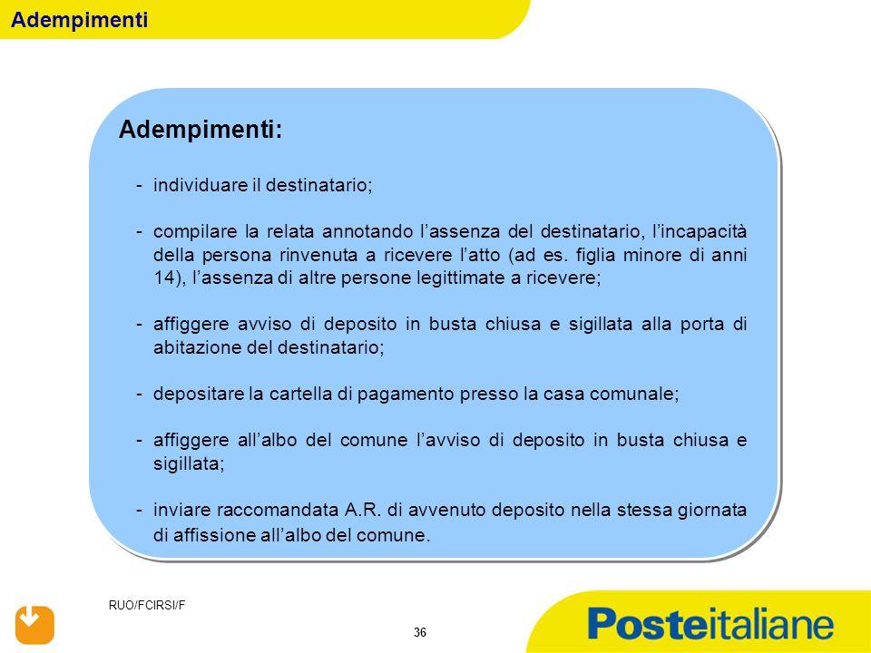 Adempimenti: Adempimenti individuare il destinatario;