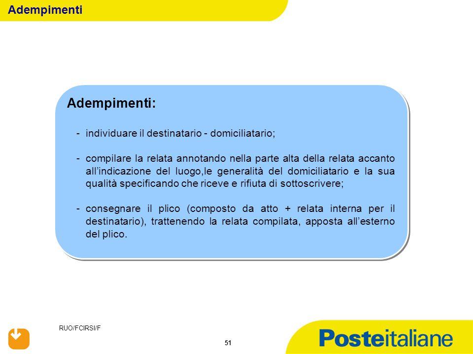 Adempimenti: Adempimenti individuare il destinatario - domiciliatario;
