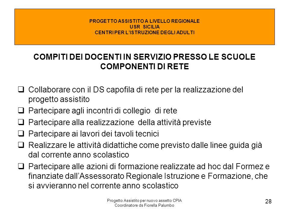 COMPITI DEI DOCENTI IN SERVIZIO PRESSO LE SCUOLE COMPONENTI DI RETE