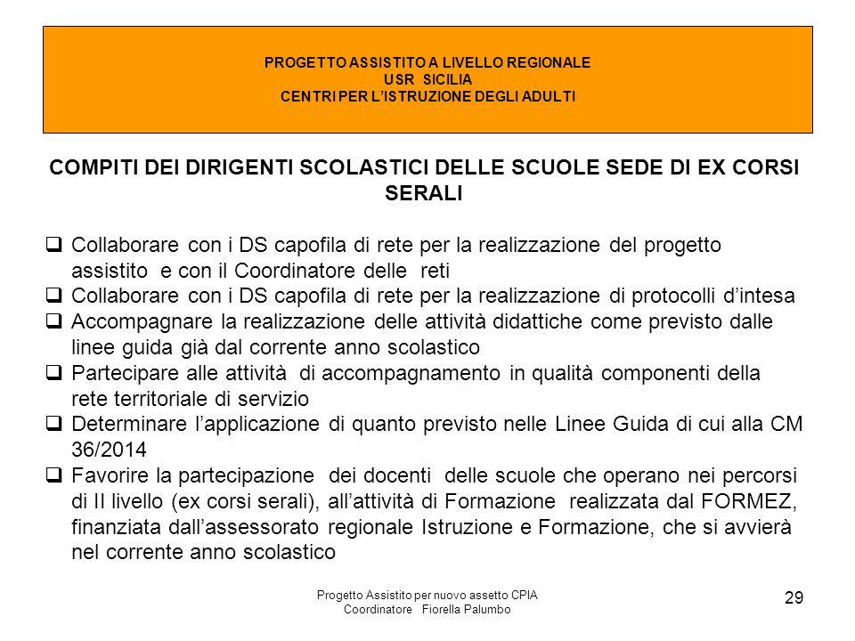COMPITI DEI DIRIGENTI SCOLASTICI DELLE SCUOLE SEDE DI EX CORSI SERALI