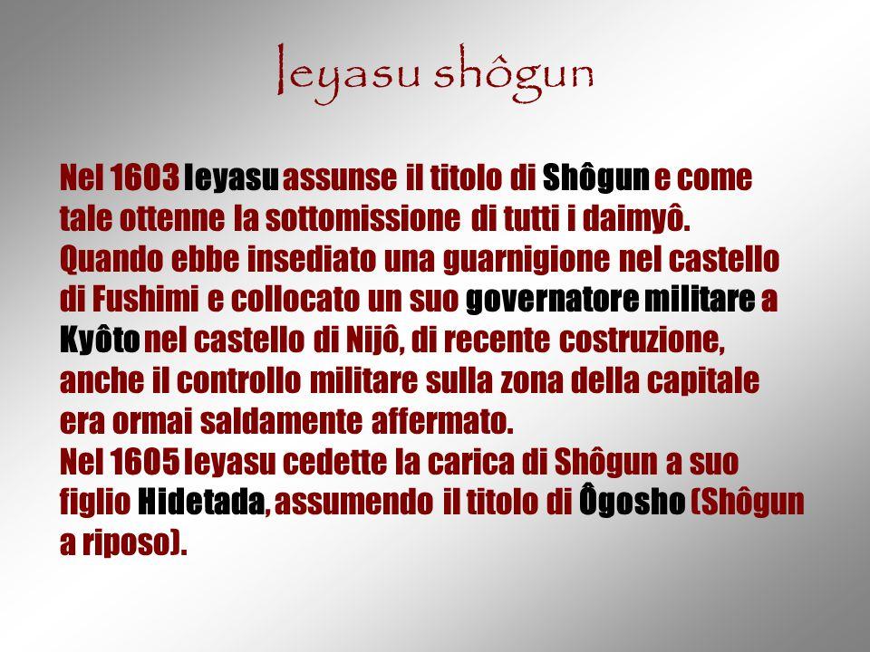 Ieyasu shôgun Nel 1603 Ieyasu assunse il titolo di Shôgun e come tale ottenne la sottomissione di tutti i daimyô.