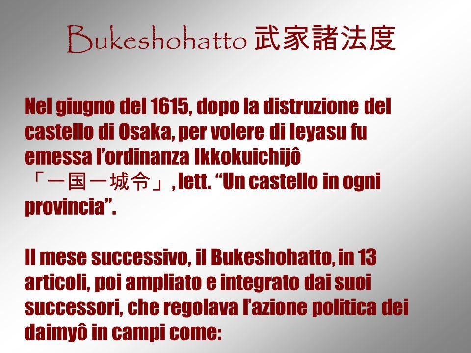 Bukeshohatto 武家諸法度 Nel giugno del 1615, dopo la distruzione del castello di Osaka, per volere di Ieyasu fu emessa l'ordinanza Ikkokuichijô.