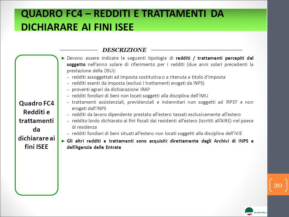 Quadro FC4 Redditi e trattamenti da dichiarare ai fini ISEE