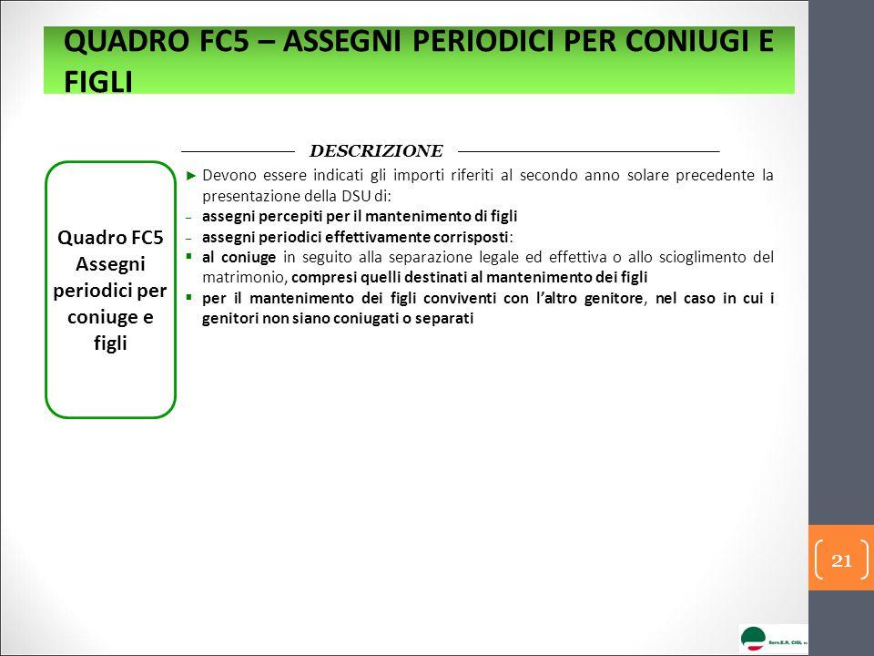 Quadro FC5 Assegni periodici per coniuge e figli