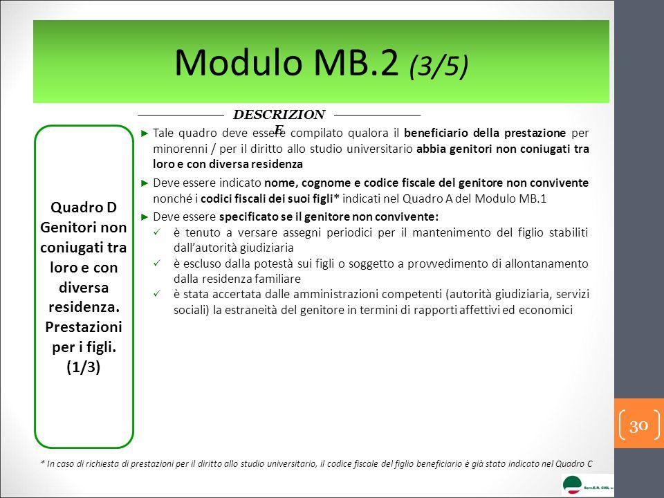 Modulo MB.2 (3/5) DESCRIZIONE. Quadro D Genitori non coniugati tra loro e con diversa residenza. Prestazioni per i figli.