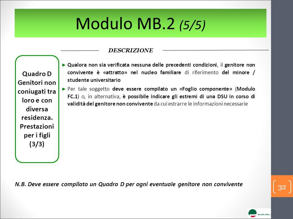 Modulo MB.2 (5/5) DESCRIZIONE. Quadro D Genitori non coniugati tra loro e con diversa residenza. Prestazioni per i figli.