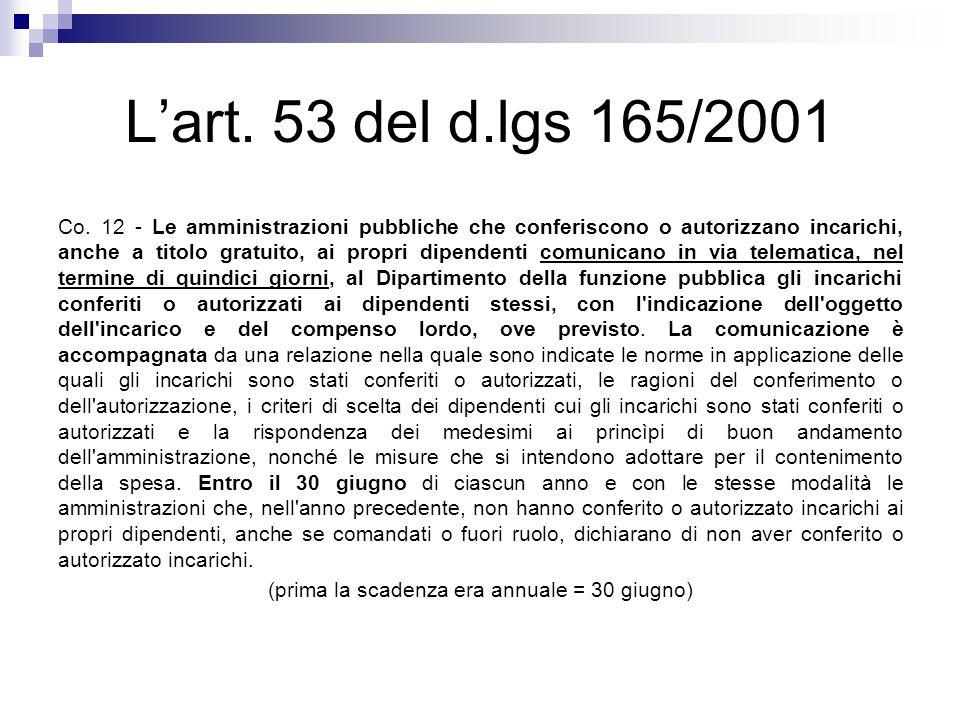 L'art. 53 del d.lgs 165/2001