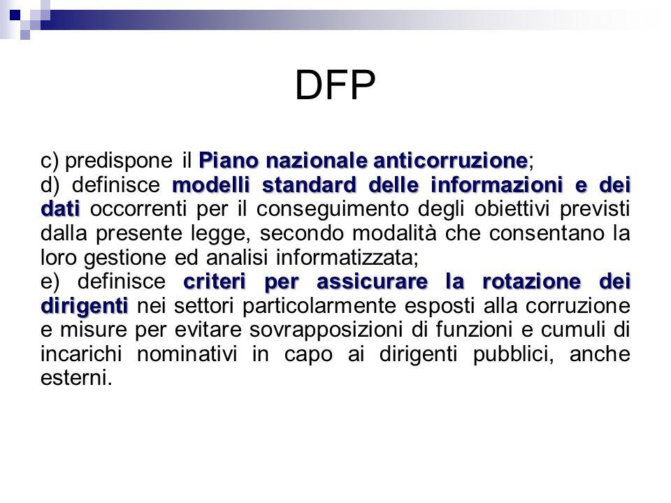 DFP c) predispone il Piano nazionale anticorruzione;