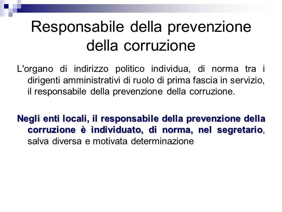 Responsabile della prevenzione della corruzione
