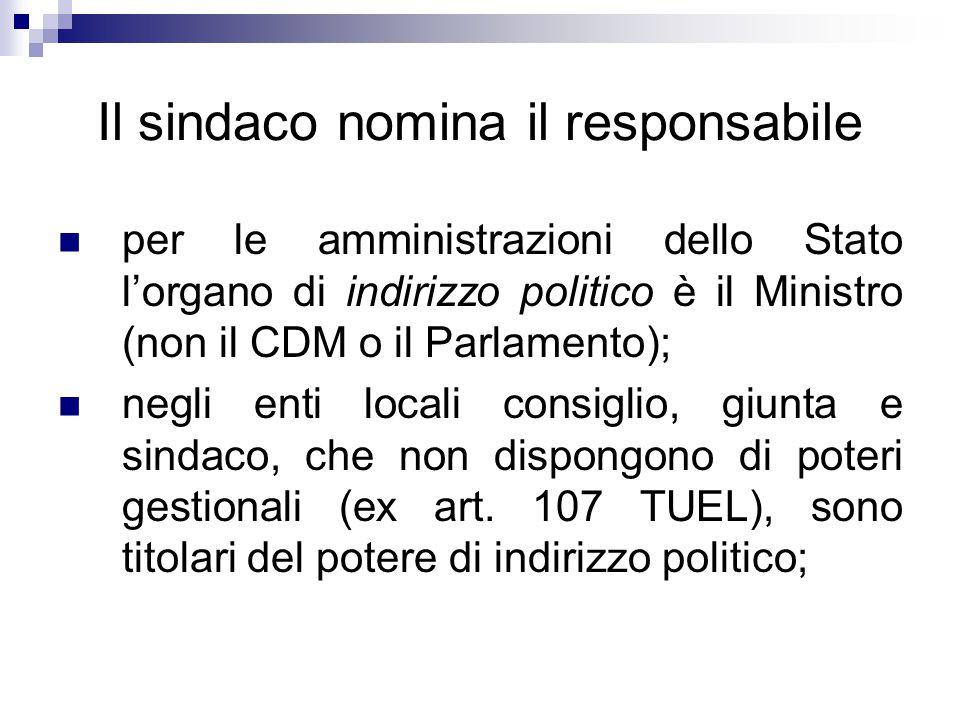 Il sindaco nomina il responsabile