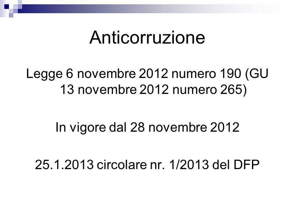 Legge 6 novembre 2012 numero 190 (GU 13 novembre 2012 numero 265)