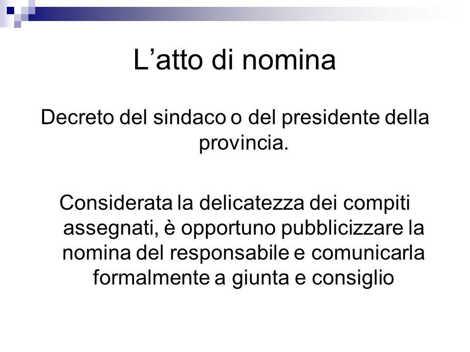 Decreto del sindaco o del presidente della provincia.