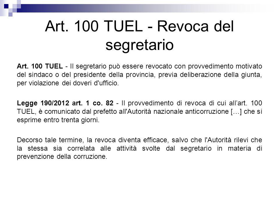 Art. 100 TUEL - Revoca del segretario