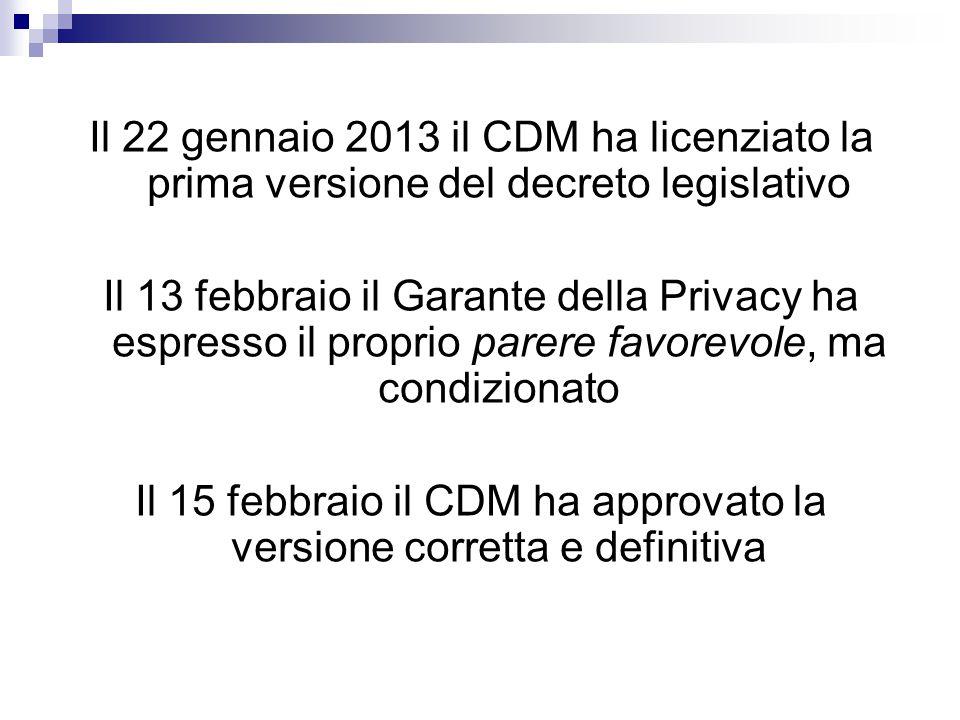 Il 15 febbraio il CDM ha approvato la versione corretta e definitiva