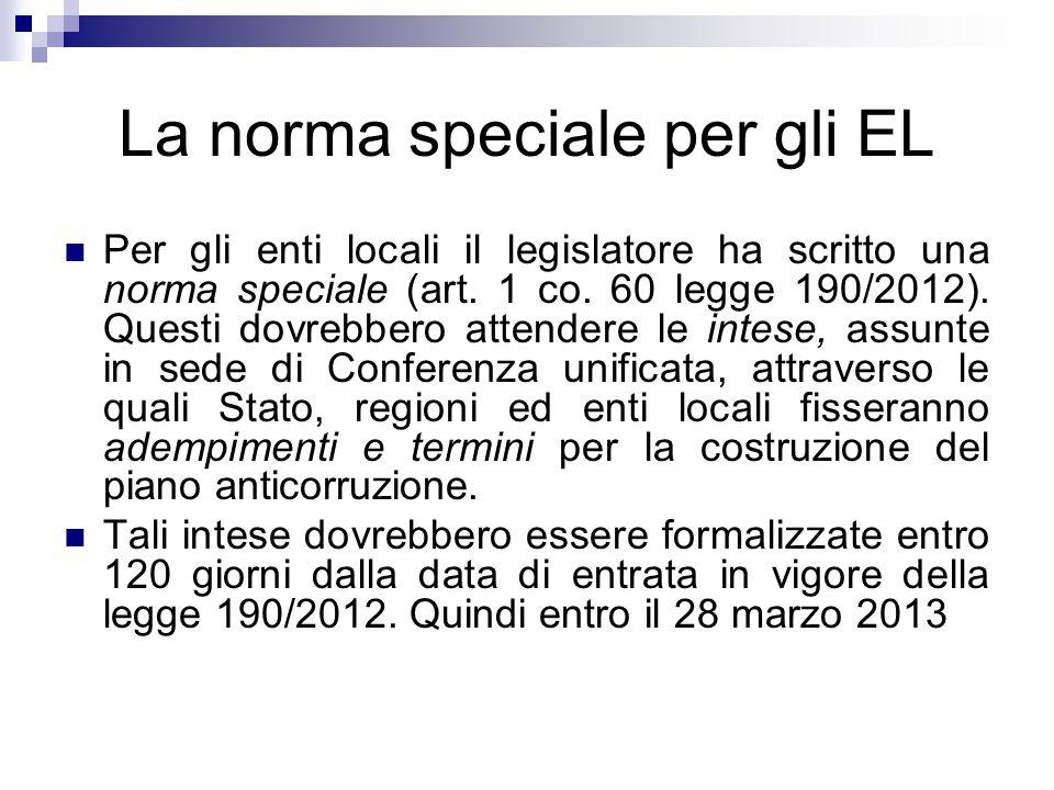 La norma speciale per gli EL