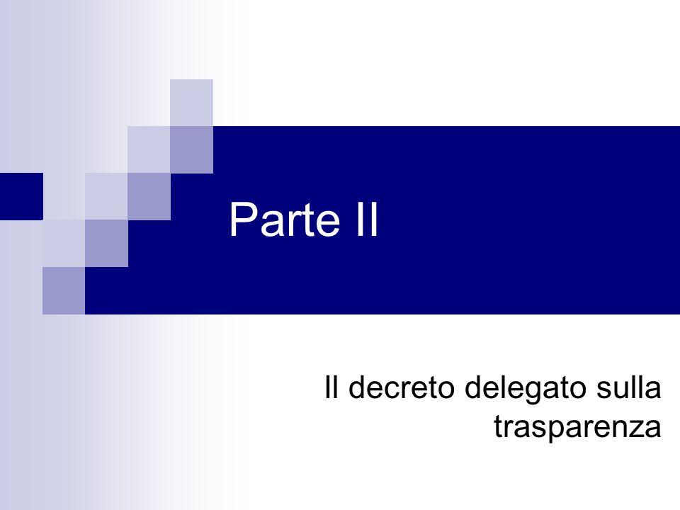Il decreto delegato sulla trasparenza