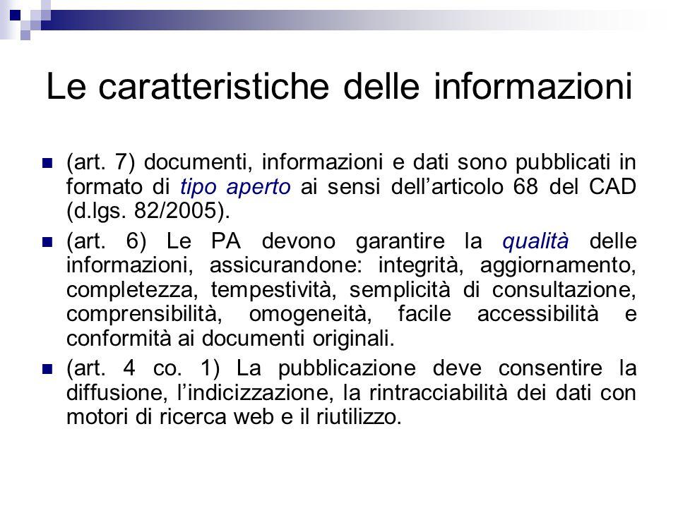 Le caratteristiche delle informazioni
