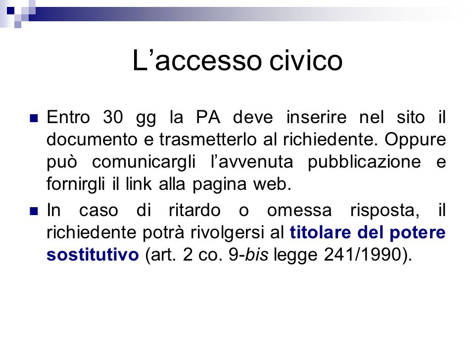 L'accesso civico